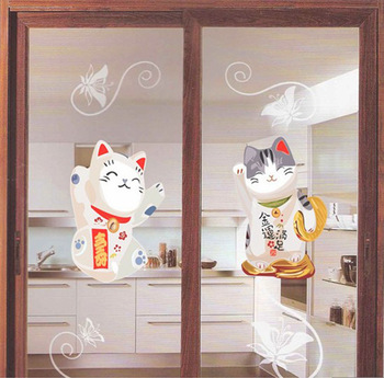 Lucky Cats cartoon be sweet papers,wifi, 3d pvc window wall stickers/papers,2013 glass film,decorative window film decoration,