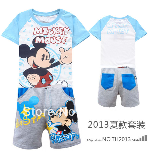 Promotion 6sets/lot new 2013 children clothing set for boys girls lovery cartoon mouse t shirt + pants summer clothes for kids(China (Mainland))