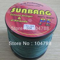 Free Shipping 200LB 0.75mm 6 Strands 300M  Multifilament Braide Fishing Line Super Strong Fishing Line  -- SUNBANG