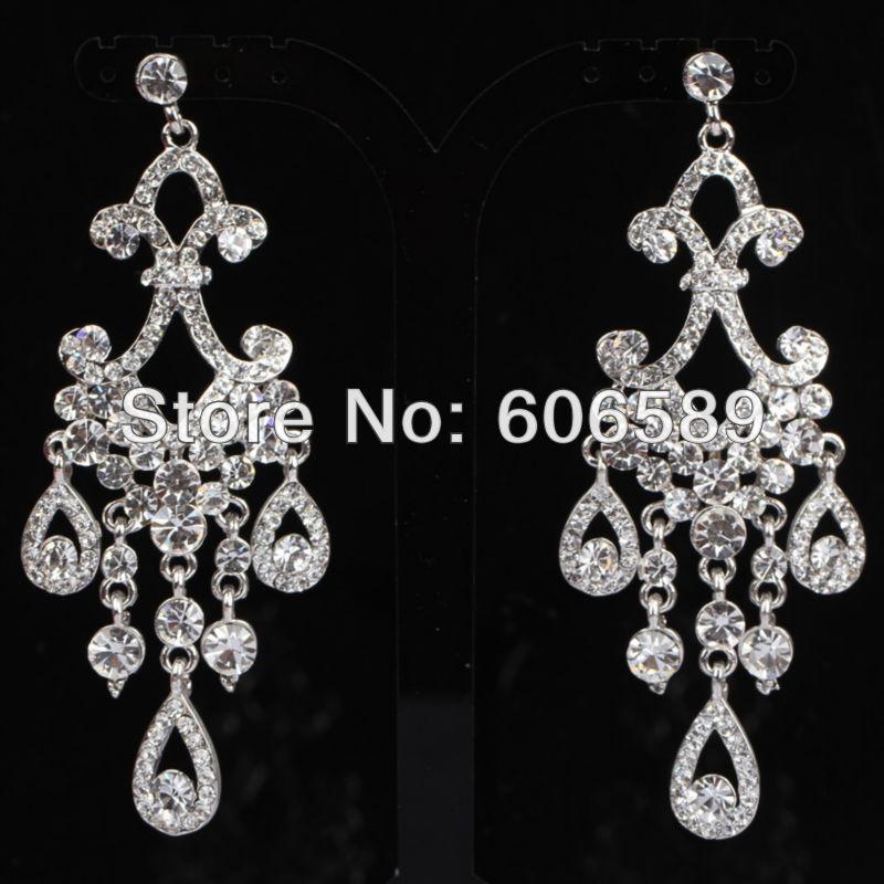 FREE SHIPPING Rhinestone Crystal Flower Pierced Dangle Bridal Earring Stud E282- 6 Colors For Choice(China (Mainland))