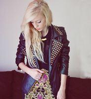 2013 new branded fashion women rivet zipper black PU leather studded jacket coat ourerwear spring autumn punk rock roll