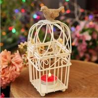 Romantic Classical Nightingale Birdcage Iron Candle Holders Zakka Storm Lantern Home Decoration