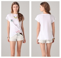 Free shipping Fashion moon cat wildfox loose medium-long short-sleeve T-shirt batwing sleeve shirt(China (Mainland))