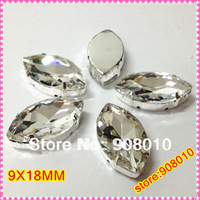 210pcs Crystal Clear 9x18mm Navette Sew On Stone In Silver Claw Setting Horse Eye Sewing Crystal