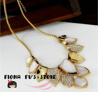 2013 new fashion elegance gold tone multi layer leaves leaf with CZ crystal rhinestone necklace trendy jewelry for women 130409