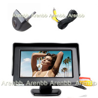 4.3Inch car LCD monitor on dashboard installation+170 degree backup camera  rear view ccd hd camera system  parking line