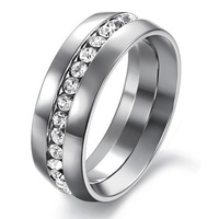Anel Rhinestone Titanium Steel White Platinum Plated 316L Stainless Steel Ring Lady Wedding Party Rings For Women Anello Size 10