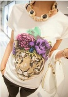 Flower tiger short-sleeve spring slim basic  lady's  cotton fashion shirt ,free shipping