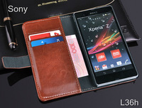 New Arrival Top Quality Wallet Style Leather Case For Sony Xperia Z L36h Stand Cover Design With Card Holder Free Shipping