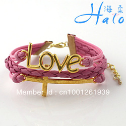 3PC/lot B00-764 Free Ship 2013 Hot Sale New Costume Jewellery Hot Pink PU Leather Braided Christian Love Cross Arm Bracelet(China (Mainland))