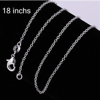 """wholesale 925 silver fashion jewelry charms necklace 1MM Chain C001 18"""""""