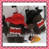 Free shipping Domo kun with cap 8cm doll mix 100pcs/lot plush toy pendant