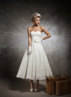Country Style Vintage Summer Wedding Dresses Ivory Button Decorations Tea Length Short Bridal Gowns Tulle RS-22