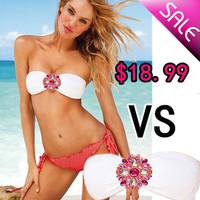 Free shipping/Women's Bikini rhinestone Swimsuit diamond Swimwear New Arrival Bikinis V S Strappy Sexy for Women