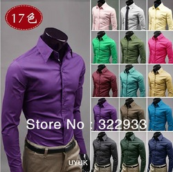 Free shipping holiday sale casual shirts for men long sleeve solid candy color cotton shirt 17 colors select asian size M-3XL(China (Mainland))