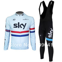free shipping!2013 SKY white team long sleeve cycling jersey + bib pants Kit,biking clothes,bicycle wear,bike jersey