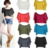 Free shipping  modal summer fashion solid color pocket loose shirt Women short-sleeve t-shirt