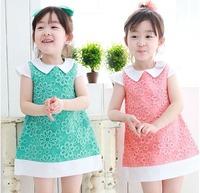 2013 summer new items Girls dress Foreign trade Princess Dress children Flowers Lapel dress hot sell 5pcs/lot 2colors