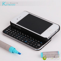 New arrival Wireless sliding bluetooth keyboard case for iphone 4 4s portable wireless bluetooth keyboard for iphone 4 Free ship