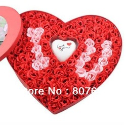 Hot Sale!!!Free shipping !!!100pcs/box,Soap Flower(With Love Light), washing cleaning bath rose Flower paper petals soap(China (Mainland))
