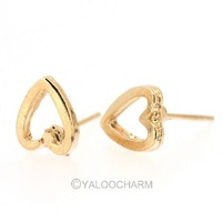Wholesale 25pairs Cute Golden Simple Design Heart Alloy Stud Earring 60140 Free Shipping Fashion Jewellery