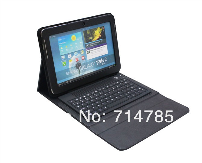 Free shipping High Quality Bluetooth wireless silicone Keyboard with stand leather case for Samsung GALAXY Tab 2 10.1'' P5100(China (Mainland))