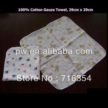 Free Shipping 100% Natural Cotton Gauze Muslin Cloth Baby Slobber Towel Wash Cloth