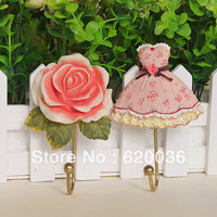 Min order is $10(mix order)   Fashion Rustic Coat Hooks Key Hook Decoration Hook Rose Clothes Towel Free Shipping