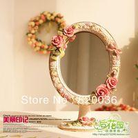 Free Shipping  Fashion Rustic Vintage Princess Dressing Mirror Makeup Mirror Pink