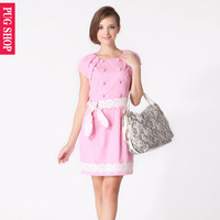 Pugshop fashion faux two piece crochet lace belt sweet one-piece dress