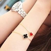 Fashion accessories vintage heart four leaf clover love bracelet