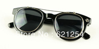 Free shipping Steam punk double layer steampunk flip sunglasses vintage metal round box sunglasses
