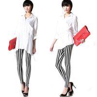 012 Retail Korean Design Fashion Lady Sexy Black & White Zebra Vertical Stripes Leggings Trousers