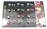 Belly Button Navel Ring Piercing Body Jewelry Hot Sexy Charm Fashion Brand Logo Gift CZ Stone 316Steel Free Shipping Xmas 10pcs