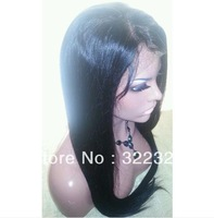wholesale 18inch 1b# virgin brazilian human hair silky straight front lace wig free shipping
