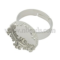 Brass Pad Ring Bases,  Platinum Color,  Adjustable,  Ring: about 17mm inner diameter,  Tray: about 16.7mm in diameter