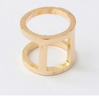 Min.order is $5 (mix order)free shipping,Punk Exaggerated Cylinder Gold Plated Unique Ring,Fashion Ring For Women(90989)