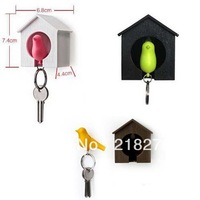 Sparrow Key Ring with Birdhouse Keychain Holder Stroage Gadget for Home Decoration