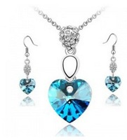 free shipping _  Popular jewelry  Austria  Crystal Earrings Necklace Jewelry Set - j-1002-12-85
