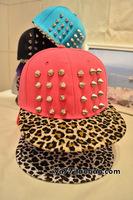Wild leopard print rivet punk hiphop cap flat brim baseball cap hat cool