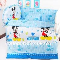 2013 EMS free children duvet cover set kids bed sheet sets baby bedding cartoon Blue Mouse 5 pieces(4 bumper+1 sheet) crib set