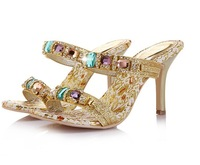2013 High Heels Sparking Diamond Sandal Slides Evening Party Dress Lady Women Bridal Wedding Shoes