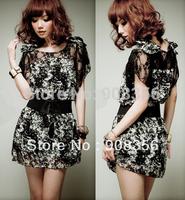 Fashion Style Women Lady Summer Dress Short Sleeve Elegant Lace Floral Printed Chiffon Dress With Belt Free Shipping C0011P