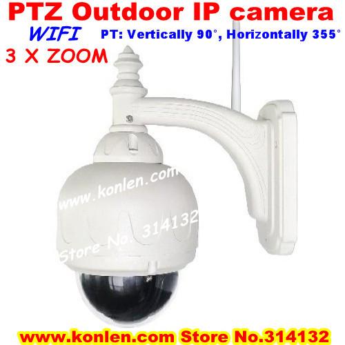 wifi waterproof ip ptz outdoor camera 3 x zoom with 22leds IR 20m,internet web iphone ipad remote monitor(Hong Kong)