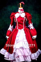 Black Butler Kuroshitsuji Elizabeth Cosplay Costume Lolita Red Dress Clothes full set  uniform  Free Express Shipping