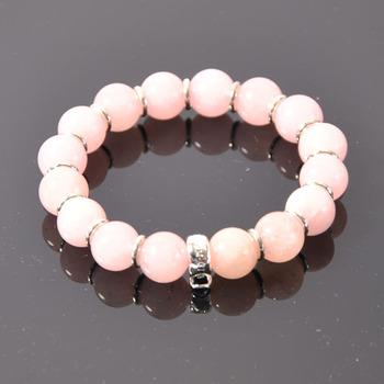 Charm Bracelets -- 12mm Natural Розовый Quartz 925 Silver Bracelets TS XB046