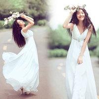 Deep V-neck sexy white trailing evening dress bridesmaid dress bride evening dress princess formal dress