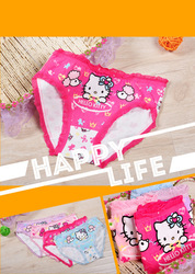 free shipping 12pcs/lot Cotton Stretch Lycra cotton hello kitty Children briefs girls briefs kids pants(China (Mainland))