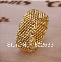 Italina Accessories free shipping 925 silver jewelry wholesale personalized fashion 18k gold wide mesh ring cool man R62
