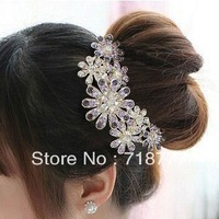 (Min order $15) Free shipping ! Korean jewelry Crystal Trendy Luxurious Gorgeous Rhinestone Flower Hair Comb, 2013 Headwear